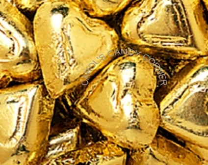 Gold Solid Milk Chocolate Hearts